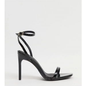 Custom Made Black Patent Leather Ankle Strap High Heel Sandals