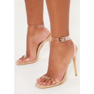 Custom Made Natural Color Clear PVC Ankle Strap Sandals