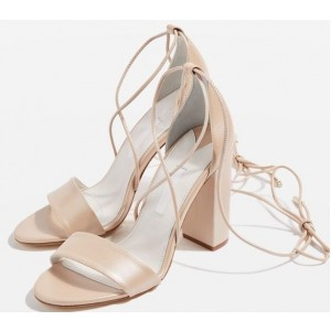 Nude Block Heel Sandals Open Toe Strappy Heels