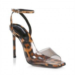 Custom Made Vinyl and Leopard Print Patent Leather Ankle Strap Sandals