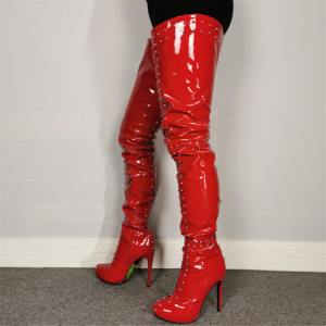 Custom Made Red Patent Leather Thigh High Studs Boots