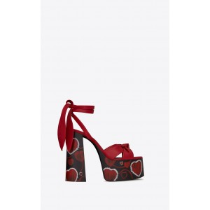Custom Made Red Heart Print Tie up Sandals