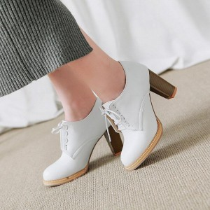Custom Made White Oxford Heels