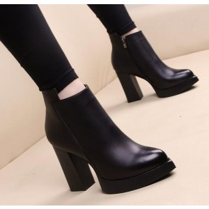 Custom Made Black Chunky Heel Platform Ankle Boots