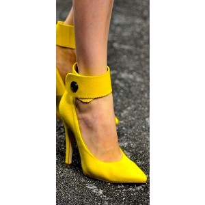 Custom Made Yellow Suede Ankle Strap Pumps