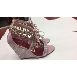 Custom Made Pink Patent Leather Rhinestone Wedges