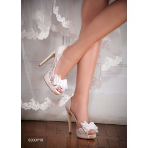 Custom Made White Lace Bow Peep Toe Platform Heels