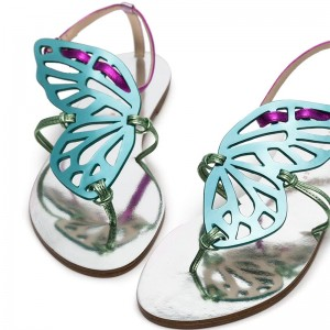 Cyan and Purple Butterfly Flat Sandals