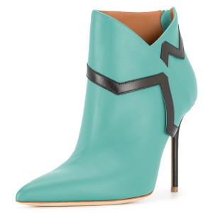 Cyan Ankle Booties Pointy Toe Stiletto Heel Fashion Boots