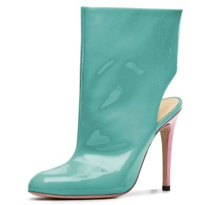 Cyan Patent Leather Cut Out Stiletto Heel Ankle Booties