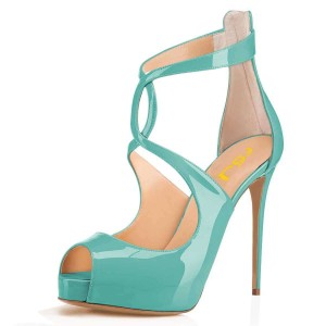 Cyan Patent Leather Platform Peep Toe Cross Over Stiletto Heels Pumps