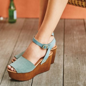 Blue Peep Toe Wedge Heels Platform Sandals