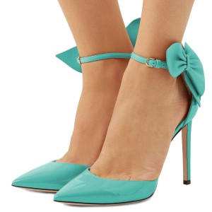 Cyan Pointy Toe Bow Ankle Strap Heels Pumps