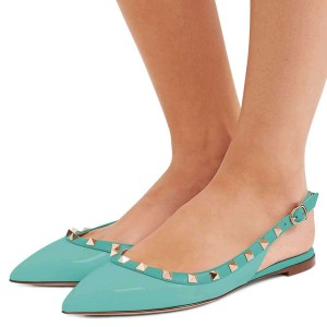 Cyan Pointy Toe Rockstud Slingback Shoes Comfortable Flats
