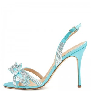 Aqua Rhinestones Bow Slingback Heels Sandals for Wedding
