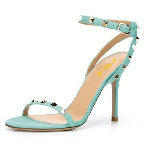 Cyan Rivets Ankle Strap Sandals Stiletto Heel Slingbacks