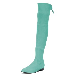 Cyan Round Toe Chunky Heels Long Boots Suede Over-the-knee Boots