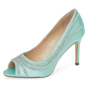 Cyan Satin Evening Shoes Rhinestones Peep Toe Stiletto Heel Pumps
