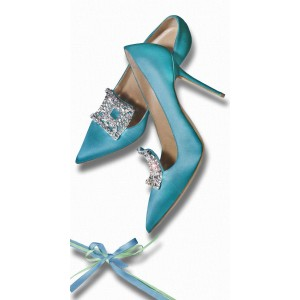 Cyan Satin Rhinestone Stiletto Heels Pumps