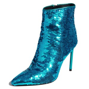 Cyan Sequined Boots Stiletto Heel Ankle Boots