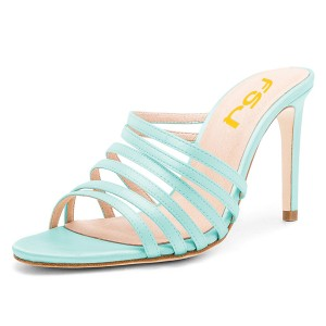 Cyan High Heels Open Toe Stiletto Heels Sexy Mules
