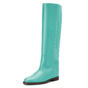 Cyan Studs Flat Long Boots Knee High Boots