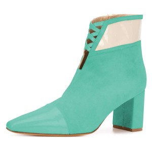 Cyan Suede Chunky Heel Boots Ankle Boots
