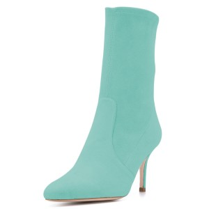 Cyan Suede Fashion Boots Pointy Toe Stiletto Heel Ankle Boots