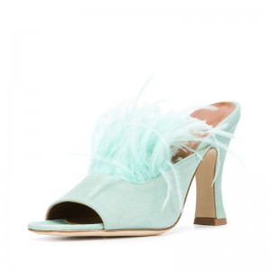 Cyan Suede Feather Mule Heels Open Toe Spool Heel Mule