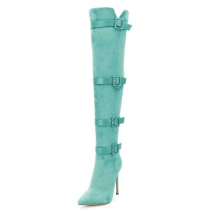 Cyan Suede Four Straps Pointy Toe Stiletto Boots Over-the-knee Boots