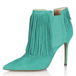 Cyan Suede Fringe Boots Stiletto Heel Chelsea Boots