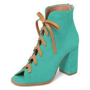 Cyan Suede Lace Up Peep Toe Chunky Heel Boots