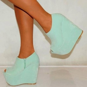 Mint Green Suede Wedge Booties Platform Boots