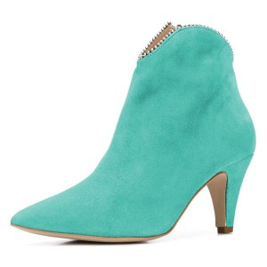Cyan Suede Zipper Pointy Toe Cone Heel Ankle Booties
