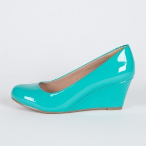 Turquoise Closed Toe Wedges Round Toe Patent Leather Pumps