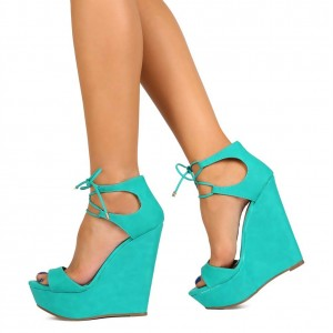 Turquoise Wedge Sandals Open Toe Platform Suede Front Lace up Sandals