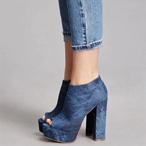 Blue Denim Boots Peep Toe Chunky Heels Platform Ankle boots