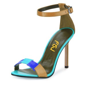 Khaki Ankle Strap Stiching Color Open Toe Stiletto Heel Sandals