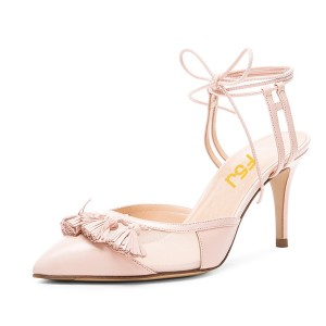 Pink Tassels Decorated Ankle Strappy 	Stiletto Heel Sandals