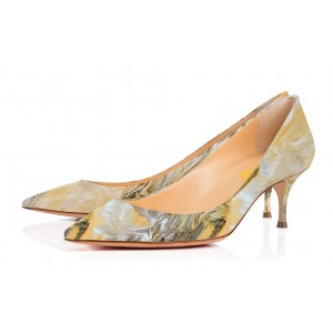 Light Yellow Low-cut Abstract Painting Pointed Toe Kitten Heel Pumps