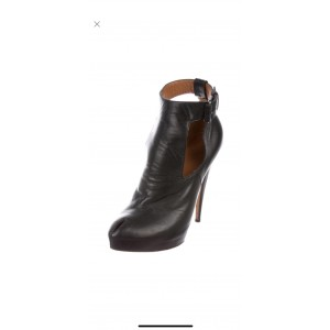 Custom Made Black Ankle Strap Cut Out Ankle Boots