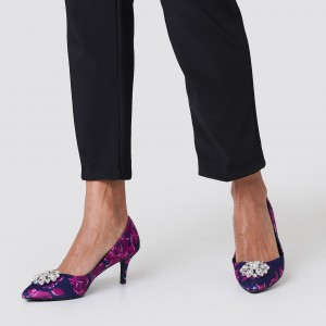 Navy Floral Heels Crystal Embellished Stiletto Heel Pumps