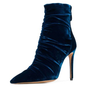 Dark Blue Velvet Stiletto Boots Pointy Toe Ankle Boots