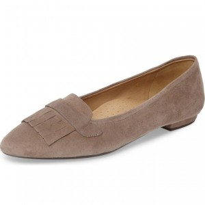 Dark Brown Almond Toe Suede Loafers for Women Fringe Comfortable Flats