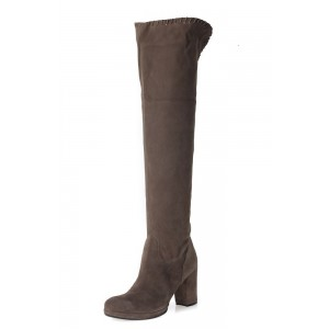 Dark Brown Suede Long Boots Block Heel Knee-high Boots