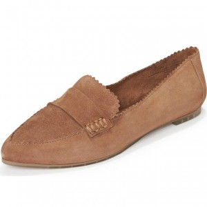 Dark Brown Wavy Suede Loafers for Women Comfortable Flats