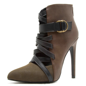 Dark Green and Brown Buckles Stiletto Heel Ankle Booties