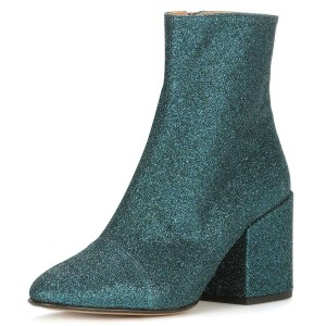 Dark Green Glitter Boots Round Toe Chunky Heel Ankle Boots