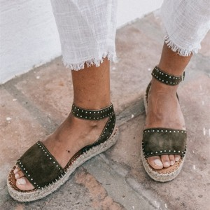 Dark Green Open Toe Platform Sandals  Rivets Ankle Strap Sandals