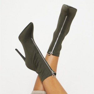 Dark Green Pointy Toe Stiletto Heel Ankle Booties with Zipper